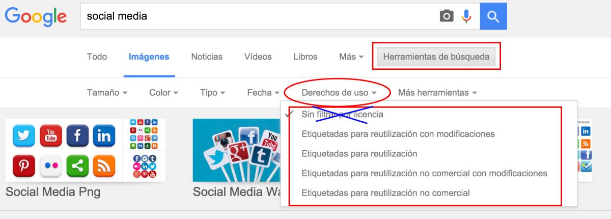 Cómo hacer una búsqueda avanzada de imágenes en Google. Utiliza el filtro derechos de uso